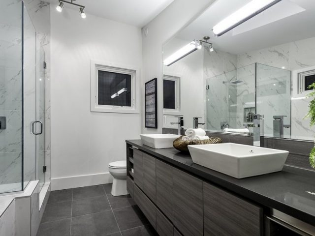 Bathroom Marble Glass Hinged Shower Door West Vancouver